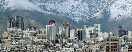 A view of Tehran with Alborz mountains on the back